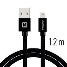 Synchronizační a nabíjecí kabel SWISSTEN - MFi Lightning pro Apple zařízení - tkanička - černý - 1,2m