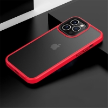 Kryt MOCOLO pro Apple iPhone 13 - plastový / gumový - průsvitný černý / červený rámeček