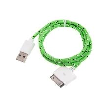 Synchronizační a nabíjecí kabel s 30pin konektorem pro Apple iPhone / iPad / iPod - tkanička - červený
