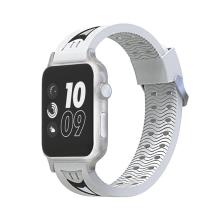 Řemínek pro Apple Watch 44mm Series 4 / 42mm 1 2 3 - sportovní - silikonový - bílý / černý