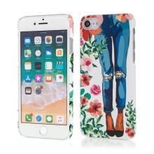 Kryt pro Apple iPhone 7 / 8 - růže + dívka v džínách - plastový - bílý