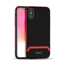 Kryt IPAKY pro Apple iPhone Xs Max - gumový / plastový - karbon / červený