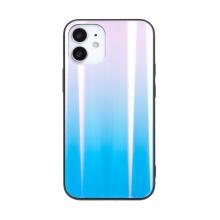 Kryt pro Apple iPhone 12 mini - barevný přechod a lesklý efekt - gumový / skleněný - modrý / růžový