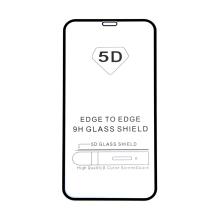 """Tvrzené sklo (Tempered Glass) """"5D"""" pro Apple iPhone - 3D - černý rámeček - čiré - 0,3mm"""