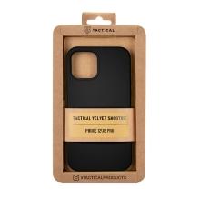 Kryt TACTICAL Velvet Smoothie pro Apple iPhone 12 / 12 Pro - příjemný na dotek - silikonový - asfaltově černý