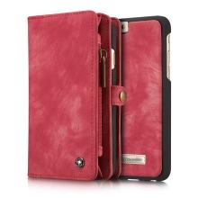 Pouzdro pro Apple iPhone 6 Plus / 6S Plus - peněženka + odnímatelný kryt na telefon - prostor na doklady - umělá kůže - červené
