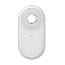 2v1 bezdrátová nabíječka / podložka Qi BASEUS pro Watch / iPhone + 24W EU nabíjecí adaptér - bílá