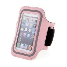 Sportovní pouzdro pro Apple iPhone 5 / 5C / 5S / SE - růžové s reflexním pruhem