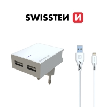 2v1 nabíjecí sada SWISSTEN pro Apple zařízení - EU adaptér (2x USB) a kabel Lightning 1,2m - bílá