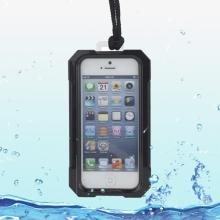 Voděodolné plasto-silikonové pouzdro iPega pro Apple iPhone 5 / 5S / SE - černo-průhledné