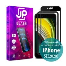Tvrzené sklo JP pro Apple iPhone SE (2020) - Case Friendly + aplikátor - černý rámeček