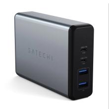 Nabíjecí adaptér SATECHI - USB-C 96W + USB-C 18W + 2x USB-A 2,4A - 108W max. - šedý
