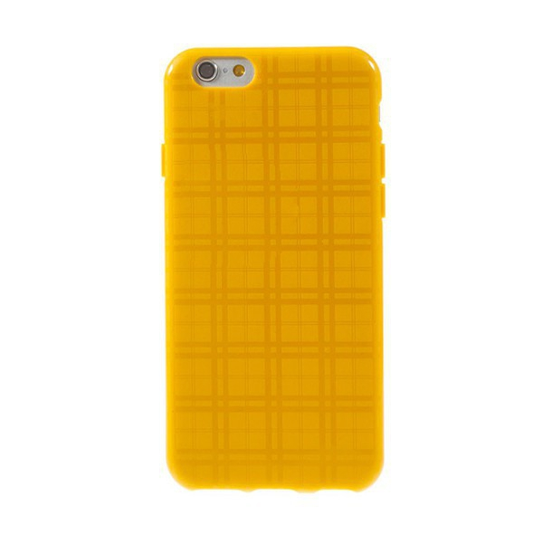 Gumový kryt pro Apple iPhone 6 / 6S - kostkovaný vzor - žlutý