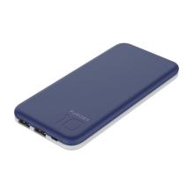 Externí baterie / power bank PURIDEA - 10000 mAh - 2x USB, 3A - bílá / modrá