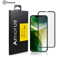 Tvrzené sklo (Tempered Glass) AMORUS pro Apple iPhone 13 / 13 Pro - černý rámeček - 2,5D hrana - 0,26mm