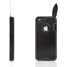 Ochranný plasto-kovový kryt pro Apple iPhone 5 / 5S / SE s nožem a dalšími využitelnými doplňky - černý