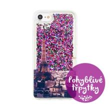 Kryt pro Apple iPhone 7 / 8 - pohyblivé třpytky - gumový - Paříž