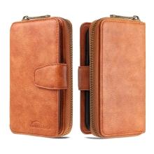 Pouzdro / peněženka pro Apple iPhone 12 / 12 Pro - umělá kůže - světle hnědé