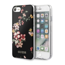 Kryt GUESS Flower Shiny N.4 pro Apple iPhone 7 / 8 / SE (2020) - plastový - květiny