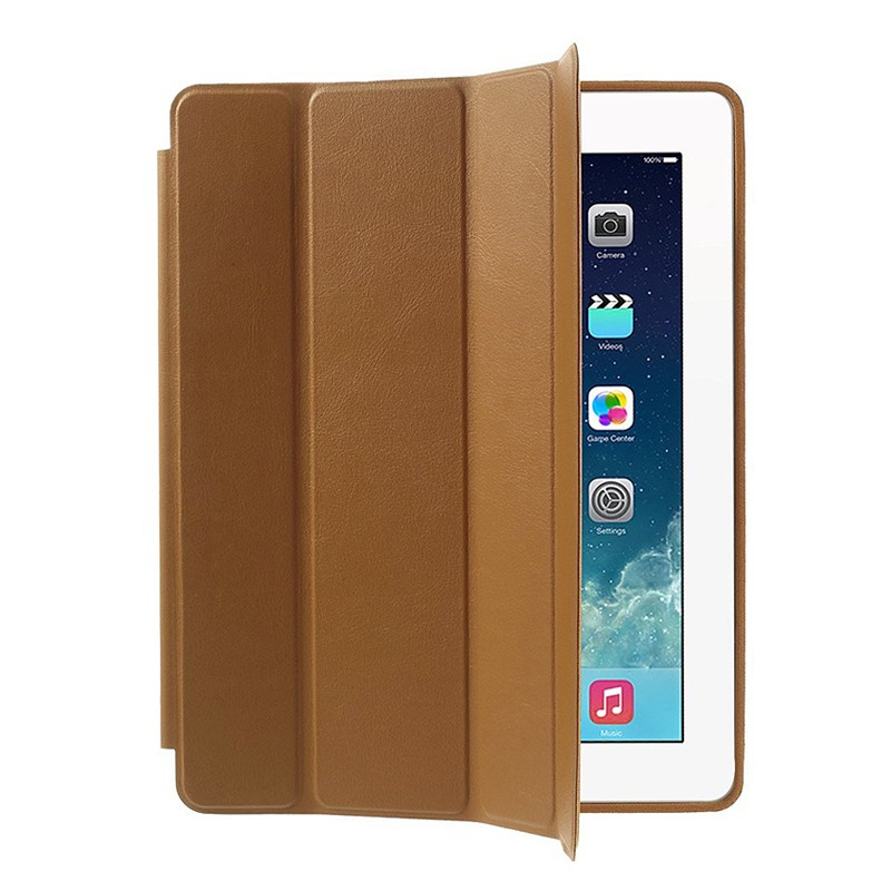 Pouzdro / kryt pro Apple iPad 2 / 3 / 4 - funkce chytrého uspání + stojánek - hnědé