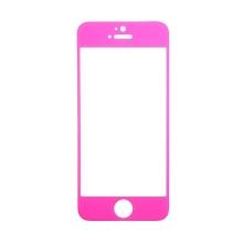 Tvrzené sklo (Tempered Glass) pro Apple iPhone 5 / 5S / 5C / SE - s růžovým rámečkem - 0,3mm