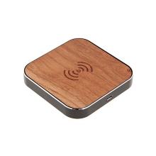 Bezdrátová nabíječka / nabíjecí podložka Qi dřevěná - černý rámeček