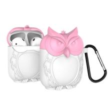 Pouzdro / obal pro Apple AirPods - 3D sova - silikonové - růžové / bílé