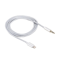 Kabel Lightning / 3,5mm jack pro Apple iPhone / iPad / iPod - 1m - opletený stříbrný