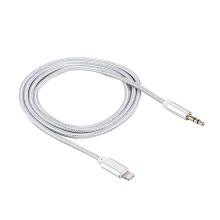 Kabel Lightning / 3,5mm jack pro Apple iPhone / iPad / iPod - 1m - opletený stříbrný