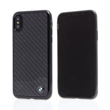 Kryt BMW pro Apple iPhone X - plastový / karbon - černý