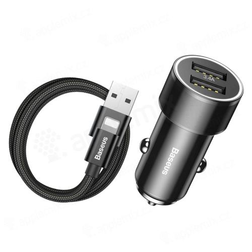 2v1 nabíjecí sada BASEUS pro Apple zařízení - autonabíječka 2x USB (3.4A) + kabel Lightning - černá