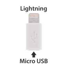 Redukce Micro USB / Lightning konektor pro Apple iPhone / iPad / iPod - bílá