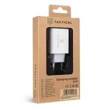 Nabíječka / EU napájecí adaptér TACTICAL - USB-A + USB-C PD - 30W QuickCharge - bílý