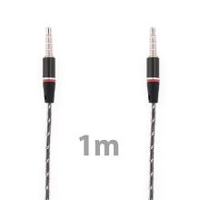Propojovací audio jack kabel 3,5mm pro Apple iPhone / iPad / iPod a další zařízení - černo-průhledný - 1m