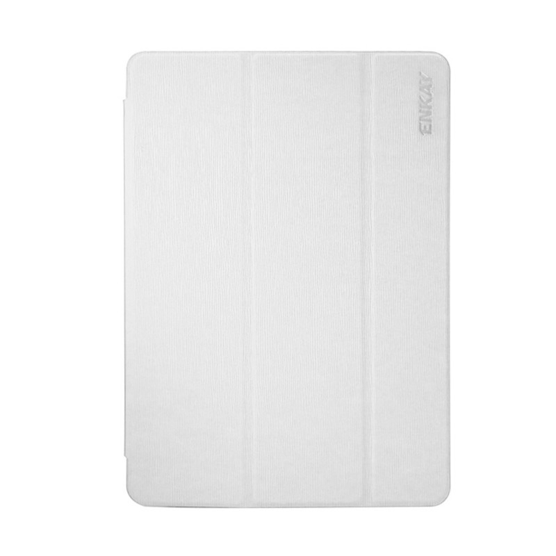 Pouzdro / kryt ENKAY pro Apple iPad 9,7 (2017-2018) - funkce chytrého uspání + stojánek - vroubkované - bílé / průhledné