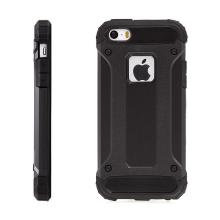 Kryt pro Apple iPhone 5 / 5S / SE - plasto-gumový / antiprachové záslepky - černý