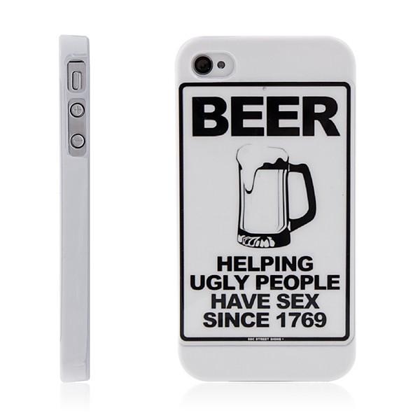 Ochranný plastový kryt pro Apple iPhone 4 / 4S - pivní motiv - bílý