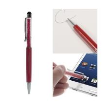 2v1 dotykové pero / stylus s propiskou - červené s lesklými kamínky
