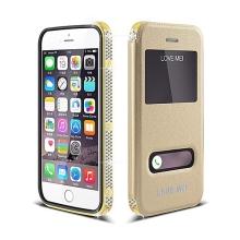 Luxusní pouzdro LOVE MEI s odnímatelným krytem pro Apple iPhone 6 / 6S - rámeček s českými krystaly - zlaté + tvrzené sklo - 0,3