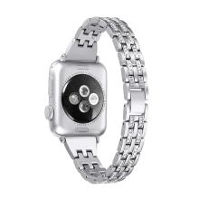 Řemínek pro Apple Watch 44mm Series 4 / 42mm 1 2 3 - s kamínky - kovový - stříbrný