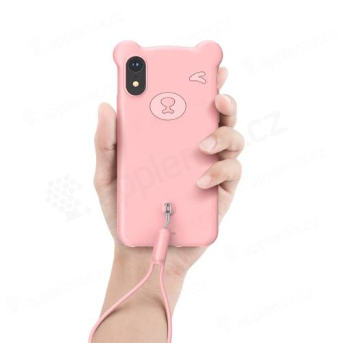 Kryt BASEUS Bear pro Apple iPhone Xr - tvar medvěda - silikonový - růžový
