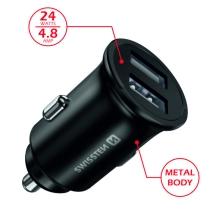 Autonabíječka / adaptér SWISSTEN - 2x USB (4,8A) - kovová - černá