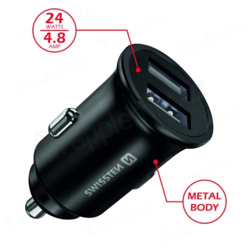 Autonabíječka / adaptér SWISSTEN - 2x USB (4,8A) - kovová