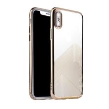 Kryt SULADA pro Apple iPhone Xs Max - lesklé vlnky - gumový - průhledný / zlatý