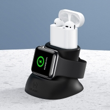 Nabíjecí stojánek USAMS pro Apple Watch / AirPods - silikonový - černý