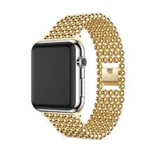 Řemínek pro Apple Watch 40mm Series 4 / 38mm 1 2 3 - kuličky - zinkový - zlatý