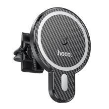 Držák do auta HOCO + bezdrátová nabíječka MagSafe kompatibilní - do ventilační mřížky - oválný - černý