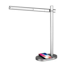 Stolní lampička + bezdrátová nabíječka Qi MOMAX  + USB-A - kovově šedá