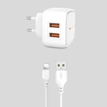 Nabíjecí sada - EU napájecí adaptér + kabel Lightning pro Apple iPhone - XO L61 - 2x USB - 12W - 1m - bílý