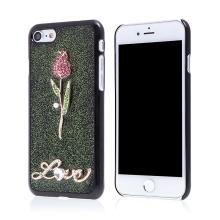Kryt pro Apple iPhone 7 / 8 - 3D růže + nápis LOVE - plastový - černý / zelené třpytky